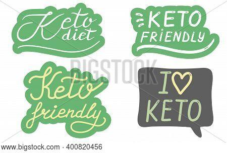 Keto Diet, Friendly, Lettering Calligraphy Set. Ketogenic Food Concept. Logo, Badge, Poster, Banner