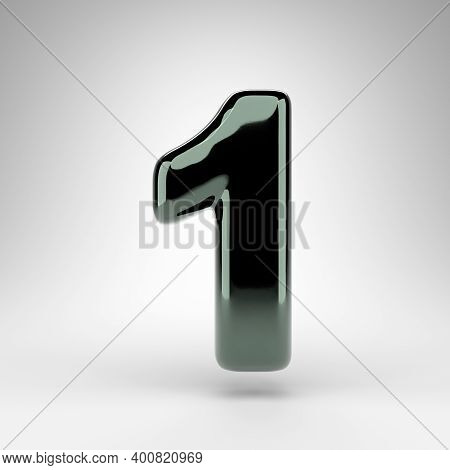 Number 1 On White Background. Green Chrome 3d Rendered Number With Glossy Surface.
