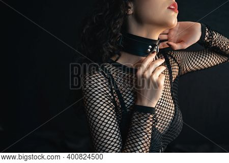 Close Up Of Sensual Female With Red Lips And Leather Bondage Collar Choker