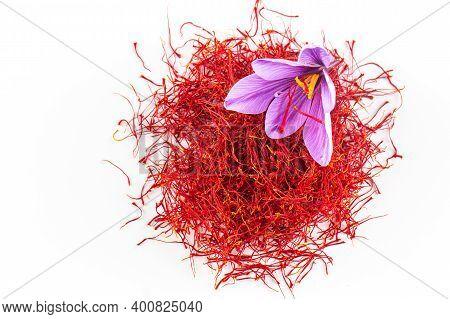 Fresh Saffron Flower On A Pile Of Saffron Threads On A White Background. Copy Space.