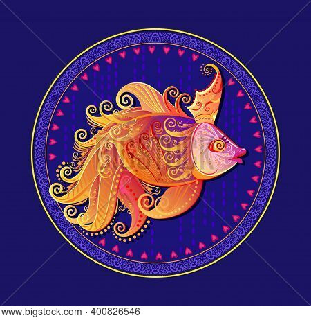 Illustration Of Fantastic Goldfish. Cover For Children Fairy Tale Book. Round Dish Ornate With Fairy