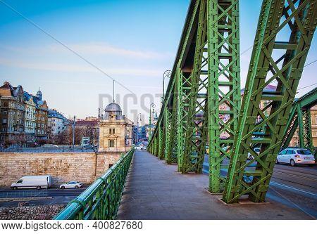 Budapest, Hungary, March 2020 Close Up Of Liberty Bridge