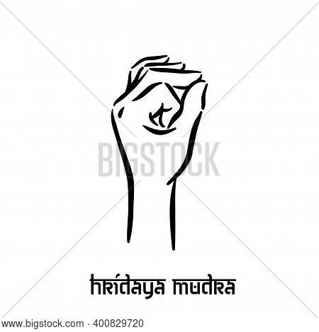Hridaya Mudra. Hand Spirituality Hindu Yoga Of Fingers Gesture. Technique Of Meditation For Mental H