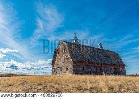 Vintage Red Barn On The Prairies Near Admiral, Saskatchewan