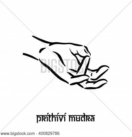 Prithivi Mudra. Hand Spirituality Hindu Yoga Of Fingers Gesture. Technique Of Meditation For Mental