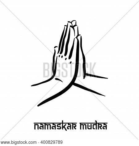 Namaskar Mudra. Hand Spirituality Hindu Yoga Of Fingers Gesture. Technique Of Meditation For Mental