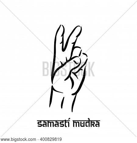 Samasti Mudra. Hand Spirituality Hindu Yoga Of Fingers Gesture. Technique Of Meditation For Mental H