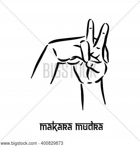 Makara Mudra. Hand Spirituality Hindu Yoga Of Fingers Gesture. Technique Of Meditation For Mental He