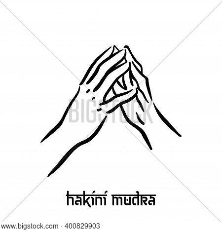 Hakini Mudra. Hand Spirituality Hindu Yoga Of Fingers Gesture. Technique Of Meditation For Mental He