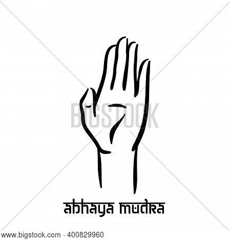 Abhaya Mudra. Hand Spirituality Hindu Yoga Of Fingers Gesture. Technique Of Meditation For Mental He