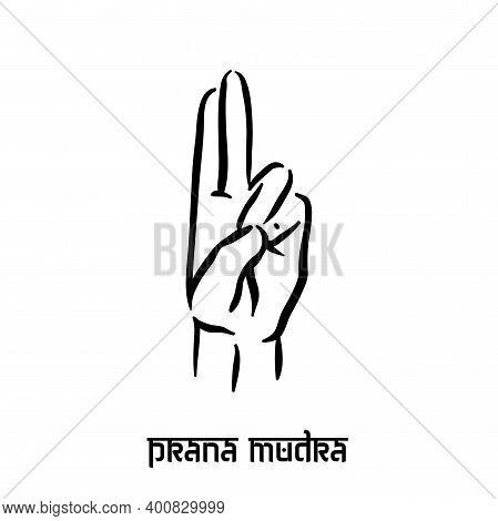 Prana Mudra. Hand Spirituality Hindu Yoga Of Fingers Gesture. Technique Of Meditation For Mental Hea