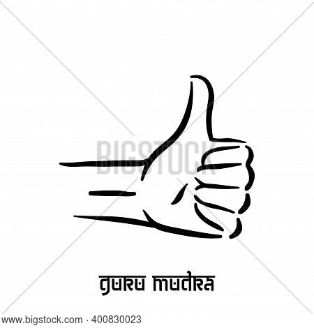 Guru Mudra. Hand Spirituality Hindu Yoga Of Fingers Gesture. Technique Of Meditation For Mental Heal
