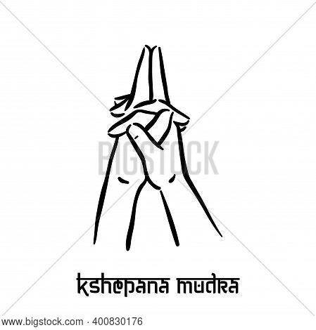 Kshepana Mudra. Hand Spirituality Hindu Yoga Of Fingers Gesture. Technique Of Meditation For Mental