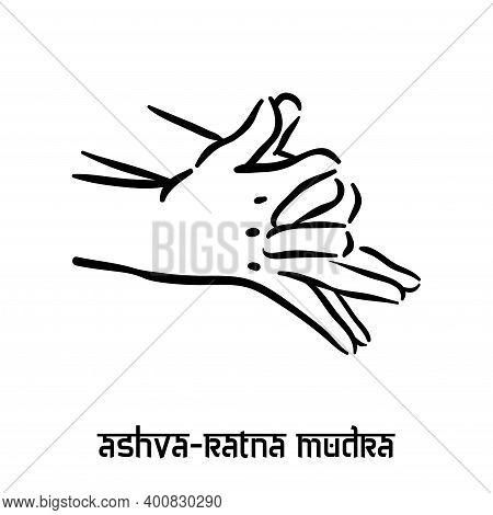 Ashva Ratna Mudra. Hand Spirituality Hindu Yoga Of Fingers Gesture. Technique Of Meditation For Ment