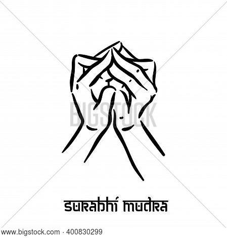 Surabhi Mudra. Hand Spirituality Hindu Yoga Of Fingers Gesture. Technique Of Meditation For Mental H