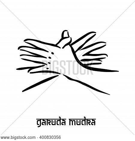 Garuda Mudra . Hand Spirituality Hindu Yoga Of Fingers Gesture. Technique Of Meditation For Mental H