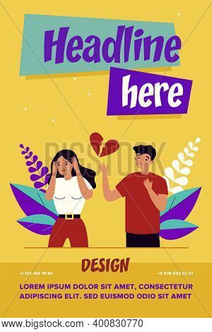 Heartbroken Couple Splitting Up. Stressed Upset Man And Crying Woman Separating Flat Vector Illustra