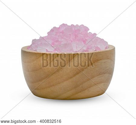 Rock Sugar Or Crystalline Sugar With Wooden Bowl Isolated On White Background ,include Clipping Path