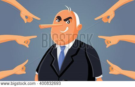 Hands Pointing At Corrupt Lying Politician Vector Illustration