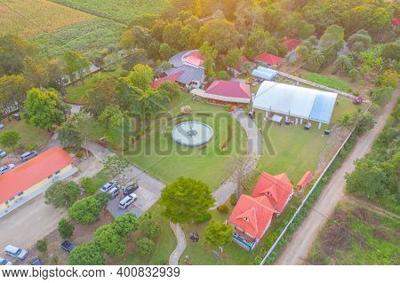 Aerial Top View Of Hotel Resort. Architecture Building. Nature Landscape Background In Khao Yai, Nak