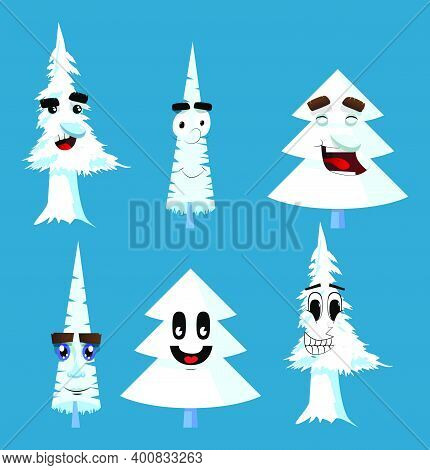 Cartoon Winter Pine Trees With Faces. Collection Of Cute Forest Trees. White Pine Characters Collect