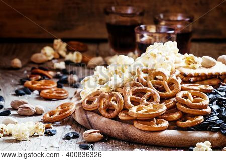 Salted Straws In The Shape Of Pretzels, Popcorn And Other Salty Snacks, Junk Food, Snacks, For Beer
