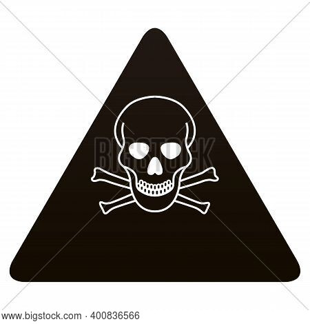 Black Danger Skull Crossbones Warning On White Background. Danger Warning Message Logo. Flat Style.