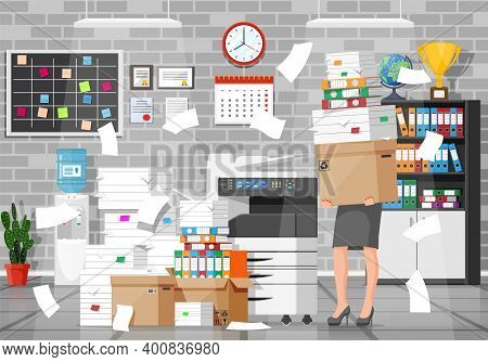 Business Woman Character In Office In Bunch Of Papers. Tired Businesswoman Or Office Worker On Workp