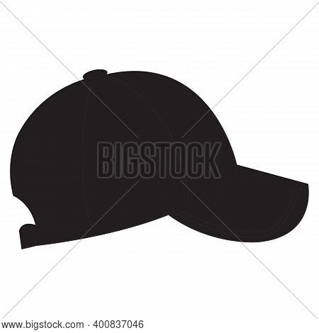 Black Baseball Cap,blank Black And White Baseball Cap Mockup, Profile Side View. Black Baseball Cap