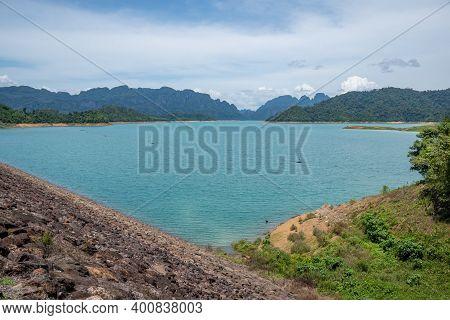 Beautiful Of Ratchaprapa Choew Lan Dam Reservoir Water In Surat Thani, Thailand