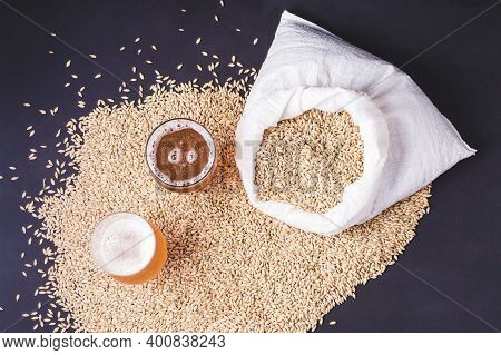 Craft Beer In Glass And Grains Of Barley Pale Malt, Poured Out Of A Canvas Bag. Ale Or Lager From Pi