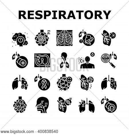 Respiratory Disease Collection Icons Set Vector. Lungs Infection, Asthma And Tuberculosis, Bronchiec