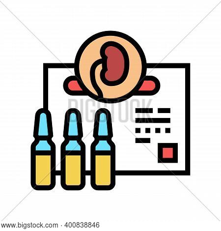 Medicaments For Kidney Treatment Color Icon Vector. Medicaments For Kidney Treatment Sign. Isolated