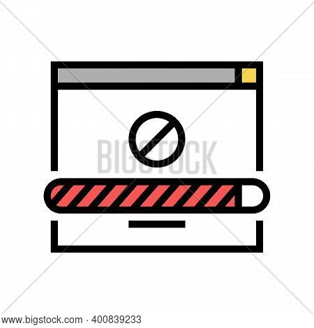 Disconnected Download Color Icon Vector. Disconnected Download Sign. Isolated Symbol Illustration