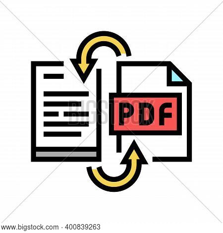 Convert Pdf File To Word Pad Color Icon Vector. Convert Pdf File To Word Pad Sign. Isolated Symbol I