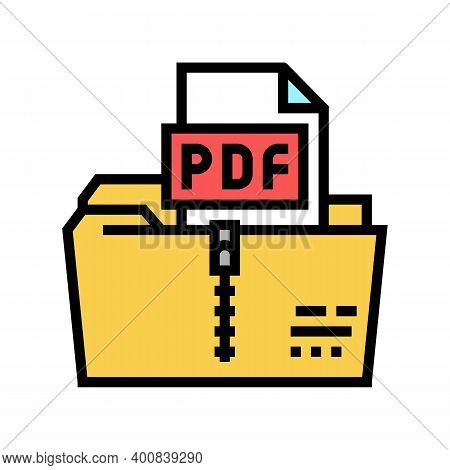 Archiving Pdf File Color Icon Vector. Archiving Pdf File Sign. Isolated Symbol Illustration