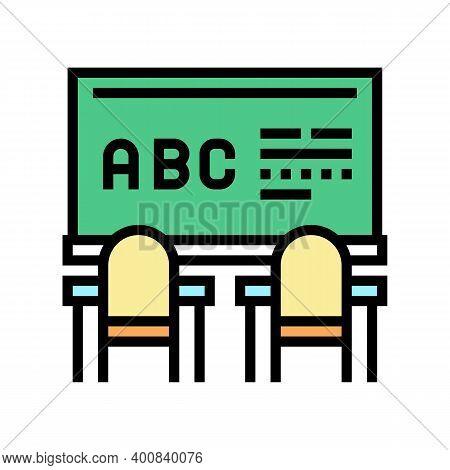 Classroom Blackboard Color Icon Vector. Classroom Blackboard Sign. Isolated Symbol Illustration
