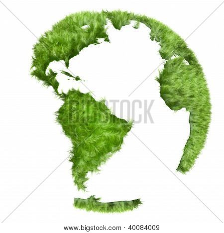 Green world made of grass, 3d illustration