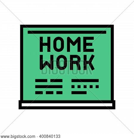 Homework On Blackboard Color Icon Vector. Homework On Blackboard Sign. Isolated Symbol Illustration