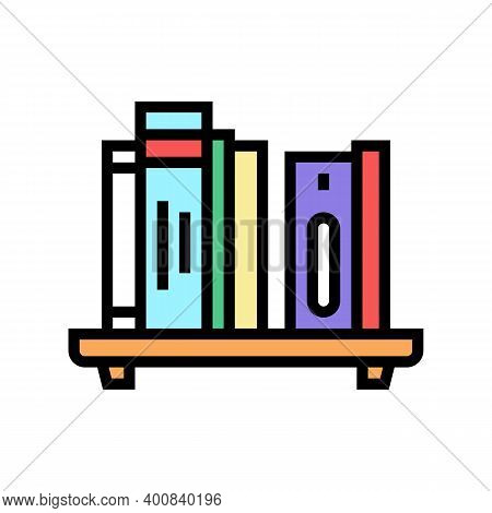 Bookshelf With Books Color Icon Vector. Bookshelf With Books Sign. Isolated Symbol Illustration