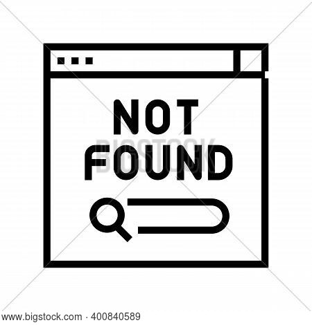 Not Found Web Page Line Icon Vector. Not Found Web Page Sign. Isolated Contour Symbol Black Illustra