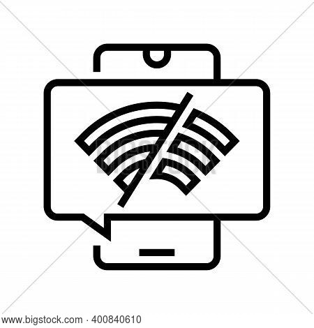 Wifi Disconnected Mobile Phone Line Icon Vector. Wifi Disconnected Mobile Phone Sign. Isolated Conto