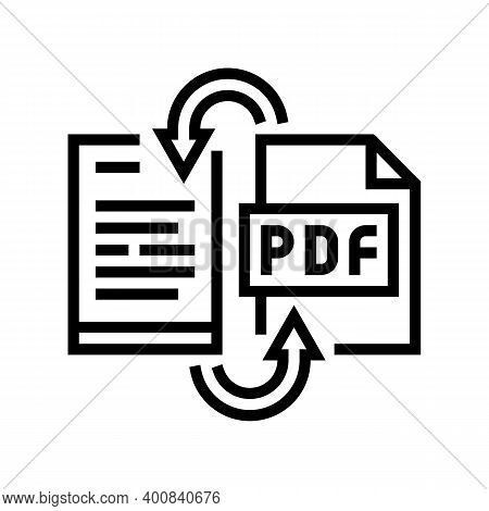 Convert Pdf File To Word Pad Line Icon Vector. Convert Pdf File To Word Pad Sign. Isolated Contour S