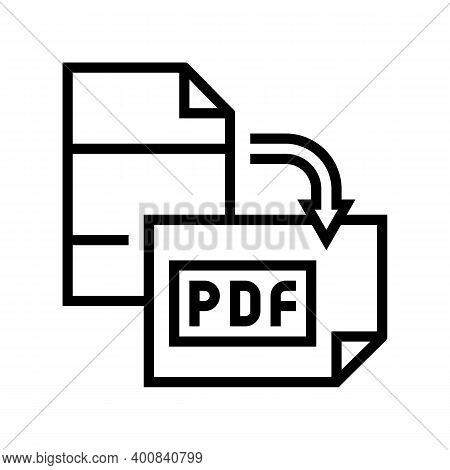 Orientation Pdf File Line Icon Vector. Orientation Pdf File Sign. Isolated Contour Symbol Black Illu