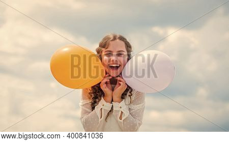 Happiness Is Air Balloons. Summer Holidays And Vacation. Childhood Happiness. Happiness Concept. Fly