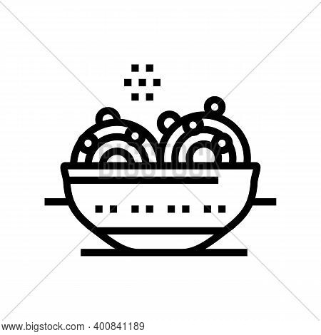 Food With Peas Line Icon Vector. Food With Peas Sign. Isolated Contour Symbol Black Illustration