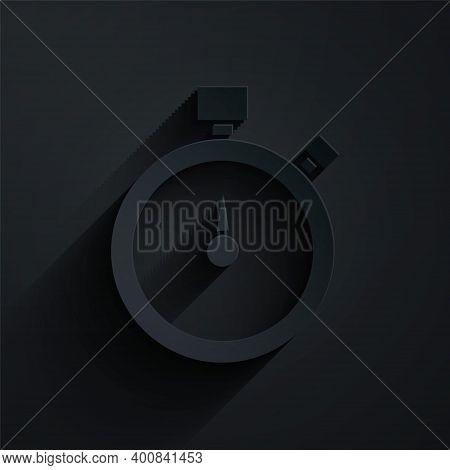 Paper Cut Stopwatch Icon Isolated On Black Background. Time Timer Sign. Chronometer Sign. Paper Art