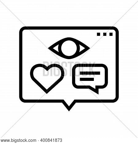 Vision, Likes And Comments Of Video Line Icon Vector. Vision, Likes And Comments Of Video Sign. Isol
