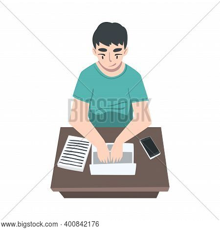 Male Journalist Sitting At Desk Writing Article Or Essay On Laptop Vector Illustration