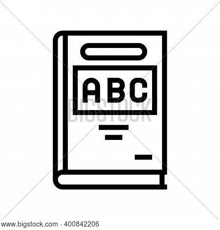 Abc Book Line Icon Vector. Abc Book Sign. Isolated Contour Symbol Black Illustration
